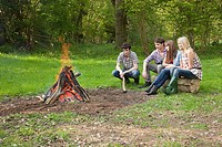 Friends by campfire