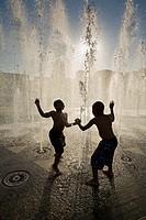 Children play fountain in Riverview Park, Shreveport-Bossier, Louisiana