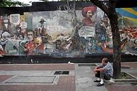 downtown, person, murals, political, venezuela, people