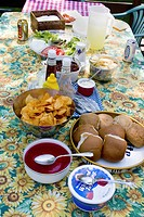 clitherall, picnic, table, patio, food, spread