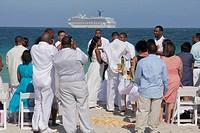 Florida, Miami Beach, Atlantic Ocean, public beach, seashore, destination wedding, ceremony, Black, man, woman, couple, guest, groom, bride, marriage,...