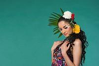 Woman wearing flowers