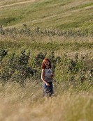 scenic, girl, grass, tall, standing, young