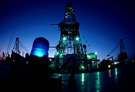 Onboard Deck of Offshore Oil Drilling Rig at Night