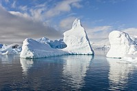 Iceberg detail in and around the Antarctic Peninsula during the summer months. More icebergs are being created as global warming is causing the breaku...