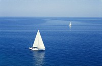 couple two white sailboats deep blue sea istria