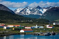 Naval Base with mountains in background, Martial Mountains, Beagle Channel, Tierra Del Fuego, Patagonia, Argentina