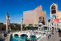 Hotels in a city, Treasure Island Hotel And Casino, The Strip, Las Vegas, Nevada, USA