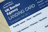 UK border agency landing card immigration form