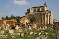ruins ground next temple antoninus faustina rome