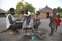 family baby south sudan early morning scene yei