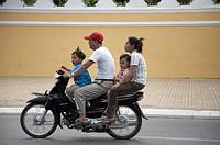 family child children cambodia motor cycle phnom
