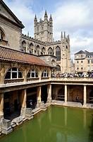 Roman Baths and Bath Abbey Church in the Background
