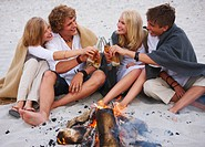 Happy young friends toasting beer bottles at beach by the fire