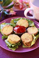 Courgette fritters with ketchup