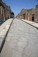 Street in the ancient ruins of Pompeii in Italy