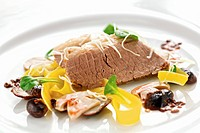 Boiled beef with pickled ceps and corn salad