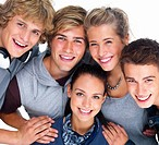 Closeup of happy young men and women smiling