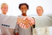Closeup of business people shaking hands with colleagues in the background