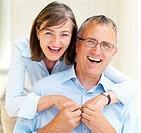 Closeup portrait of romantic old couple having fun