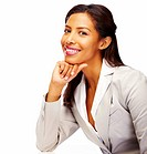 Attractive African American business woman isolated against white background