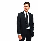 Portrait of a handsome young business man standing over white background