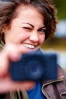 Closeup portrait of happy smiling women taking self photograph