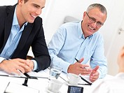 Business meeting _ Happy businesspeople talking