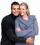 Happy young man hugging his girlfriend on white background