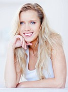Portrait of a beautiful young blond woman smiling