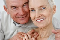 Closeup portrait of a happy healthy elderly couple in love