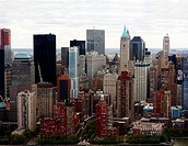 Aerial view of beautiful architectural buildings in New York City
