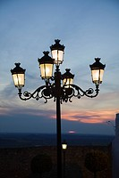 Medina Sidonia, Andalusia, Spain, A Light Post With 5 Lamps On It Illuminated At Night