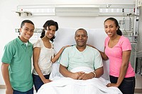 Family visiting Black man in hospital bed