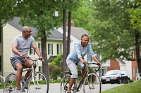 Black couple riding bicycles