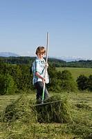 Boy raking the lawn on meadow