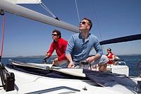 Team setting sail on yacht