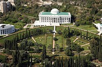 Aerial image of the Bahai gardens and temple on the slopes of the Carmel mountain