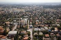 Aerial photograph of the city of Kiryat Ono in the Dan Metropolis