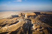 Aerial photograph of the archeologic site of Masada and the Roman ramp build between 66 AD to 73 AD during the Great Revolt