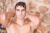 Man under the shower.
