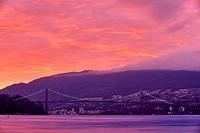 Suspension bridge lit up at dusk, Lions Gate Bridge, Stanley Park, Vancouver, British Columbia, Canada