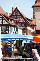 Market on marketplace, Gengenbach, Black Forest, Baden_Wuerttemberg, Germany