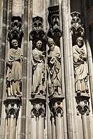 D-Muenster, Westphalia, Muensterland, North Rhine-Westphalia, Saint Lamberti Church, Late Gothic, Saint statues at the western portal