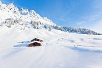 Alp huts at the Hochkoenig in snow, Austria