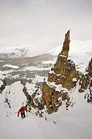 A backcountry skier hiking, Mount Assiniboine, Mount Assiniboine Provincial Park, British Columbia, Canada