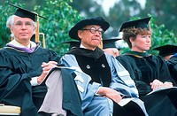 Professors observing the graduation ceremony, UCLA, Los Angeles, CA