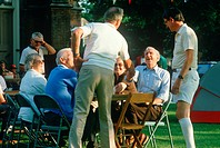 A group of senior citizens socializing, Westfield, NY