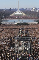 Camera stands and crowd on Bill Clinton´s Inauguration Day January 20, 1993 in Washington, DC