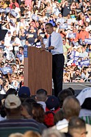 US Senator Barack Obama speaking from podium at Early Vote for Change Presidential rally, October 25, 2008 at Bonanza High School, Judy K. Cameron Sta...